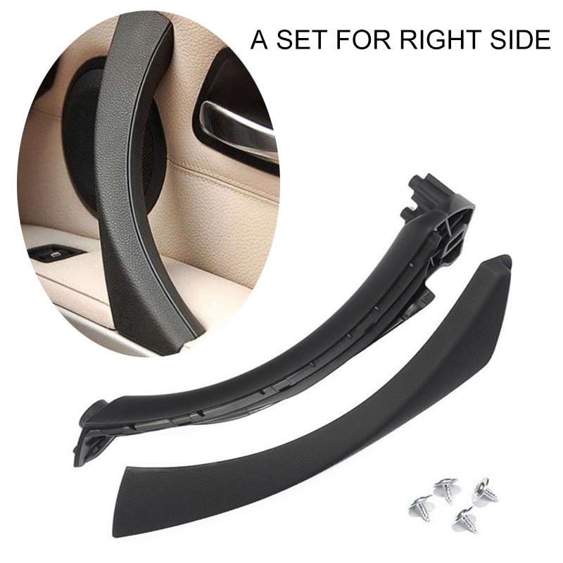 Mayitr 1 juego negro ABS Lado derecho tirador de puerta interior Trim + cubierta para BMW E90 E91 316 318 320 325 330 335