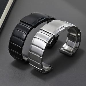 20mm 22mm Stainless Steel Watchband Silver Black Bracelet Butterfly Buckle For Men's Fine Steel Watch Accessories
