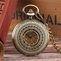 vintage half hunter unisex hand winding mechanical pocket watch roman numerals hollow bronze pendant watches clock fob chain