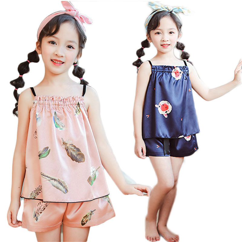 Seide Kinder Pyjamas Sets Sommer Kinder Pyjamas Für Mädchen 2020 Cartoon Mädchen Nachtwäsche Teenager Pyjamas Kleidung