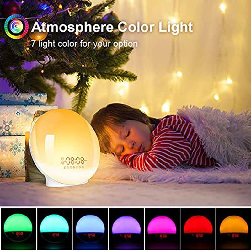 Wake Up Light 7 Colored Night Light/Sunrise Simulation & Sleep Aid Dual Alarm Clock with FM Radio Snooze for Alexa Google Home enlarge