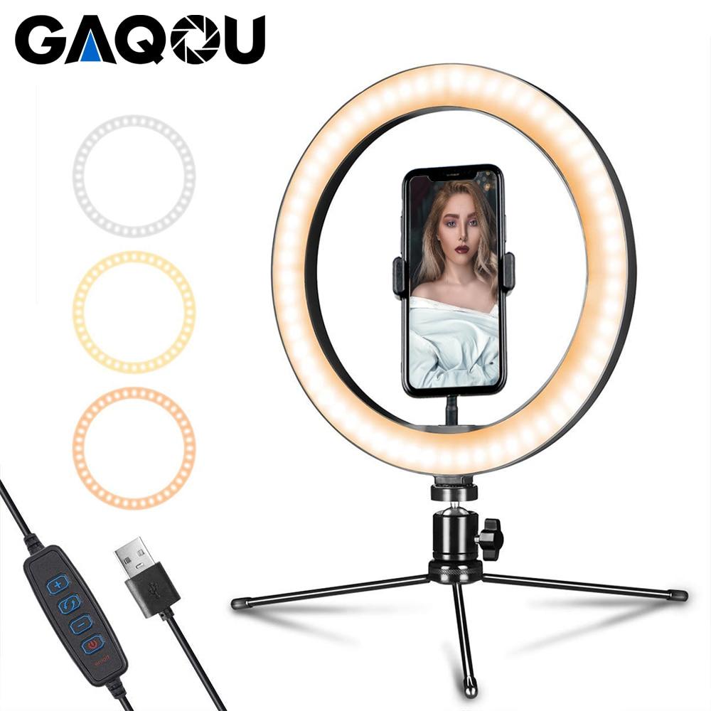 6 10 pulgadas LED anillo lámpara fotografía Selfie Stepless iluminación Cámara teléfono luz con Mini trípode para maquillaje Video Youtube Studio