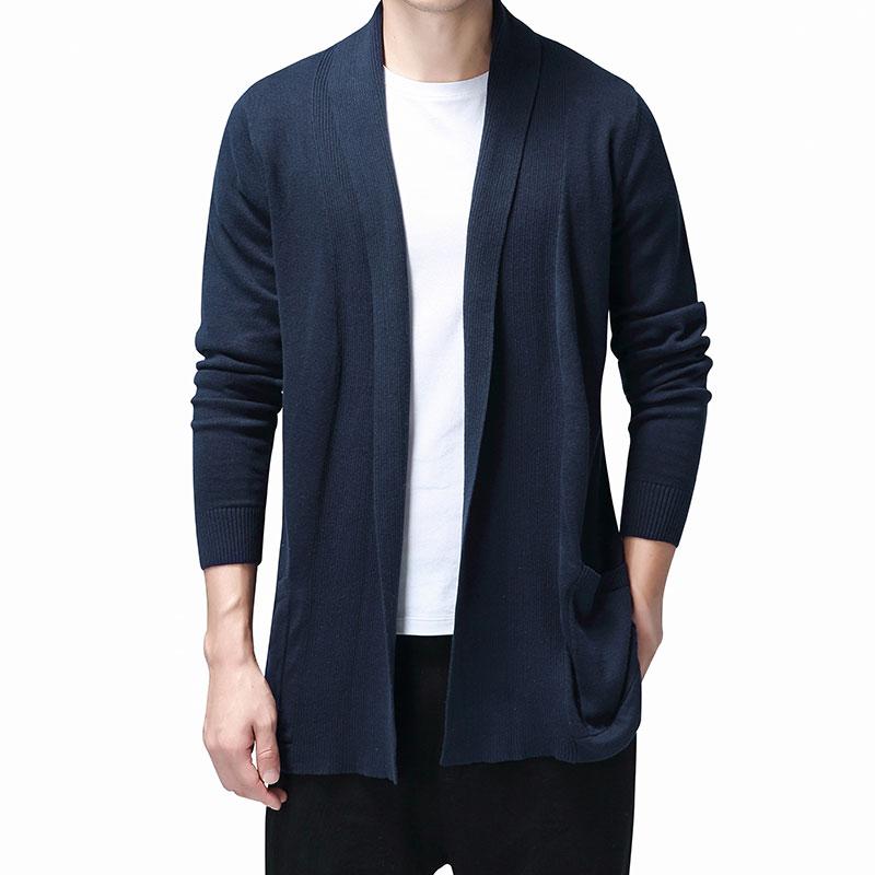 Однотонный кардиган, мужской повседневный вязаный хлопковый свитер, Мужская одежда, длинные стильные мужские Свитера и кардиганы, пальто, с...