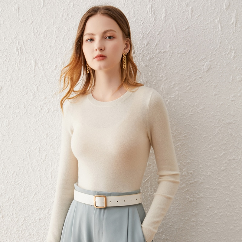 SHUCHAN SWEATER WOMEN Basic High Elasticity Pullover New Autumn Winter Full Sleeve O-Neck 25% Cashmere 70% Wool Office Lady enlarge
