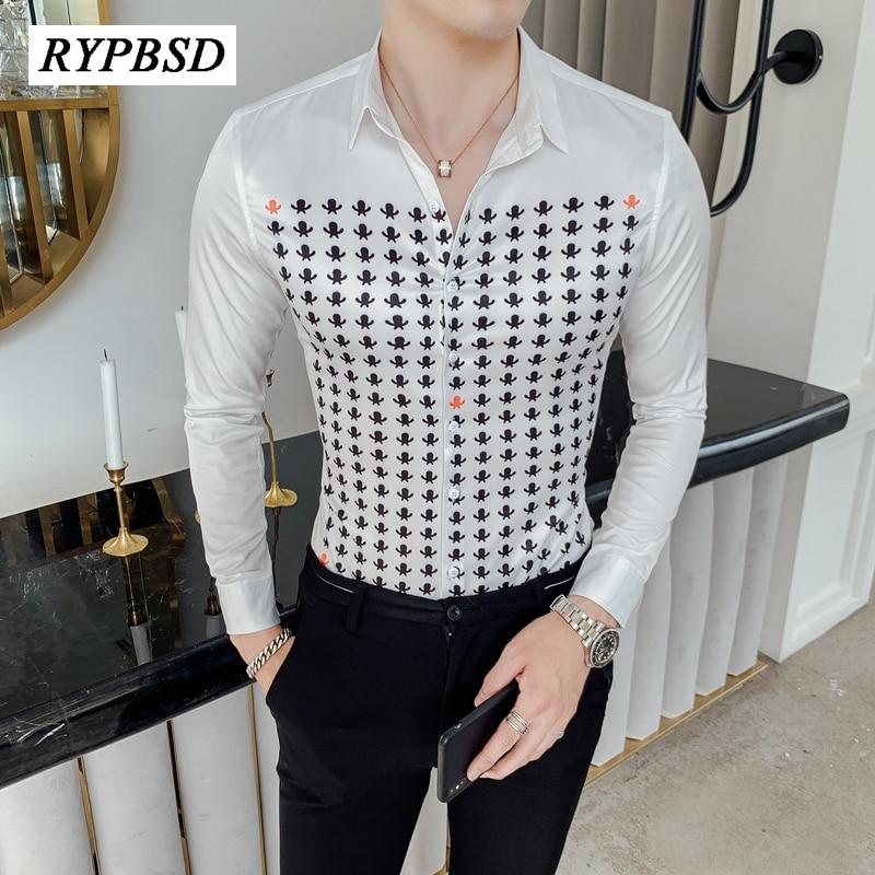 Estilo britânico de luxo camisa masculina impressão manga longa camisas vestido para homens magro ajuste camisa casual clube smoking vestido camisas hombre 4xl