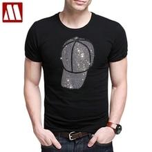 Мужская Дизайнерская футболка, Мужская черная футболка с короткими рукавами, мужские хлопковые футболки, летние разноцветные блестящие стразы с черепом, футболки
