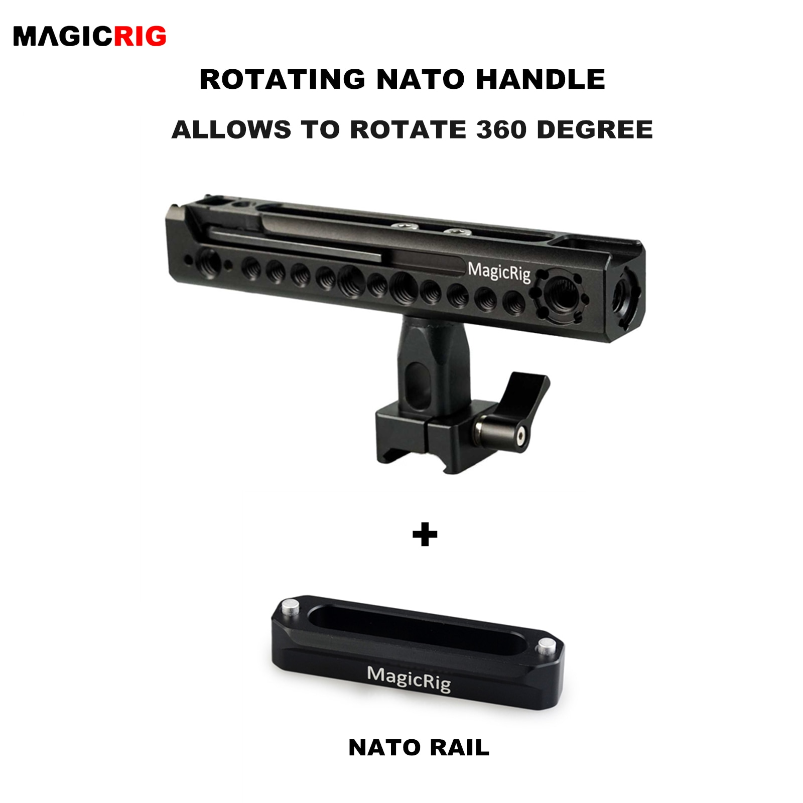 MAGICRIG-مقبض دوار بمقبض ناتو ، مع حامل حذاء بارد ونقطة تحديد موقع لكاميرا DSLR ، قفص كاميرا