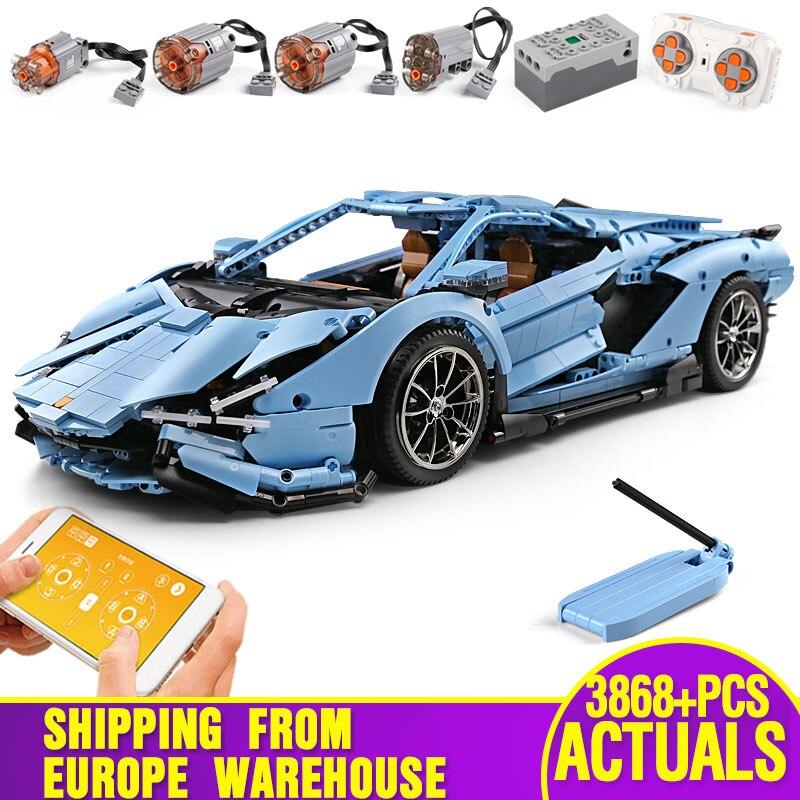 Juguetes de coche Techinc 18 compatibles con 42115 Lamborghinis Sian FKP 37, modelo de coche, bloques de construcción, regalos de Navidad para niños