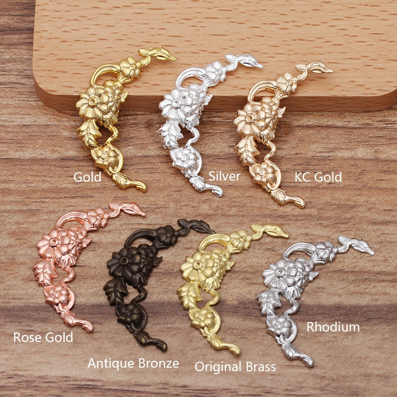 20pcs/lot 40mm Plated Filigree Hollow Out Flower Copper Charms for Headwear Brooch Necklace Componen