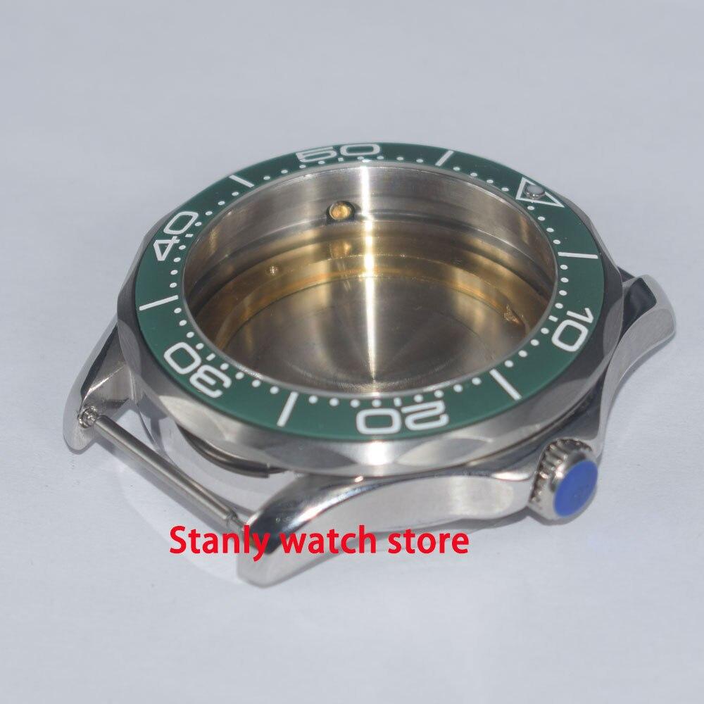 Cristal zafiro 41mm Acero inoxidable engaste de cerámica verde caja de reloj ajuste ETA 2836 Miyota 8215 821A movimiento automático