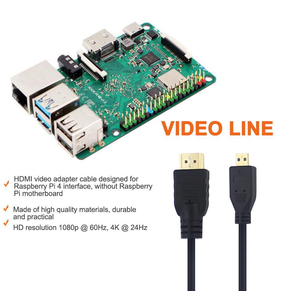 2019 nuevo 1,5 M Micro HDMI a HDMI HD Cable de vídeo 4K de alta calidad perfecto para Raspberry Pi 4/4B