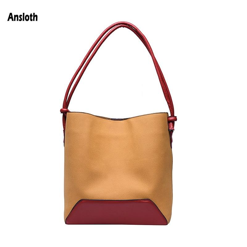Ansloth Luxury Handbags Women Bag Patchwork Shoulder Bag Panelled Top Handle Women's Tote Bag PU Leather Bucket Bag Purse HPS878