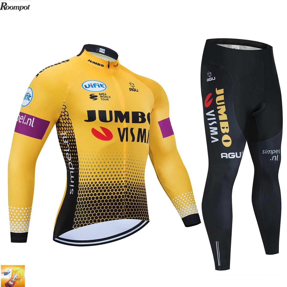 Ropa de ciclismo Jumbo Visma para hombre, ropa de ciclismo de manga larga de otoño amarillo, ropa de ciclismo para hombre, Conjunto de Jersey de ciclismo para equipo 16D Gel