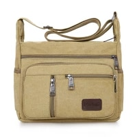 travel bag fashion trend business mens canvas bag breathable fabric firm strap multi pocket outdoor mens satchel vintage bag