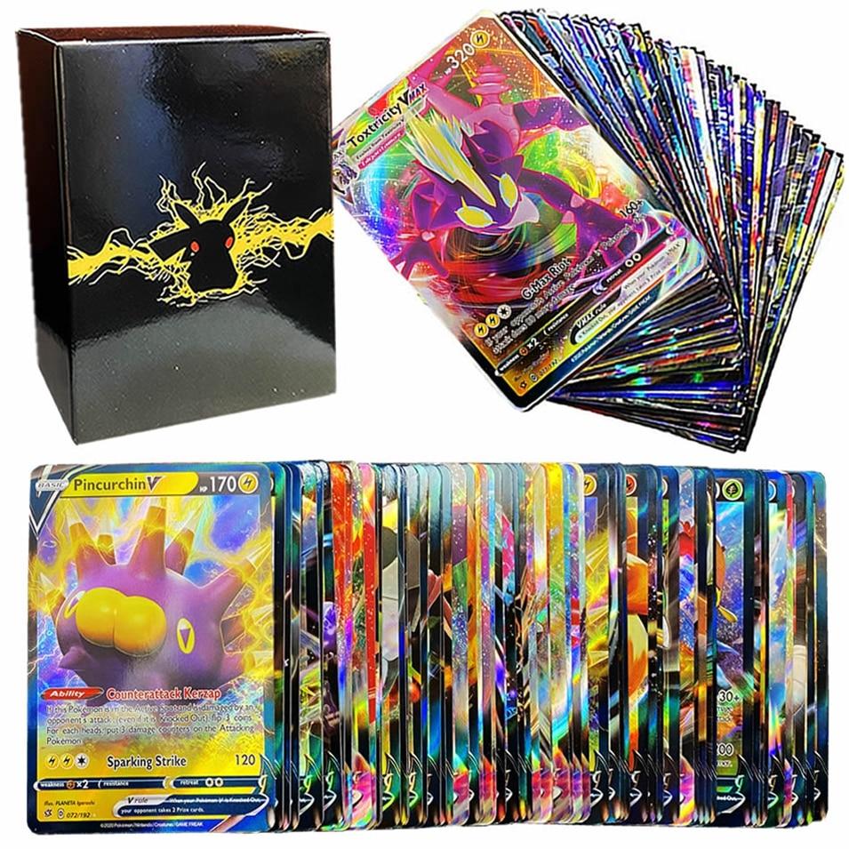 100pcs English Pokemon Cards Box Shining V VMAX Card Display Pokémon Playing Game EX GX MEGA Battle