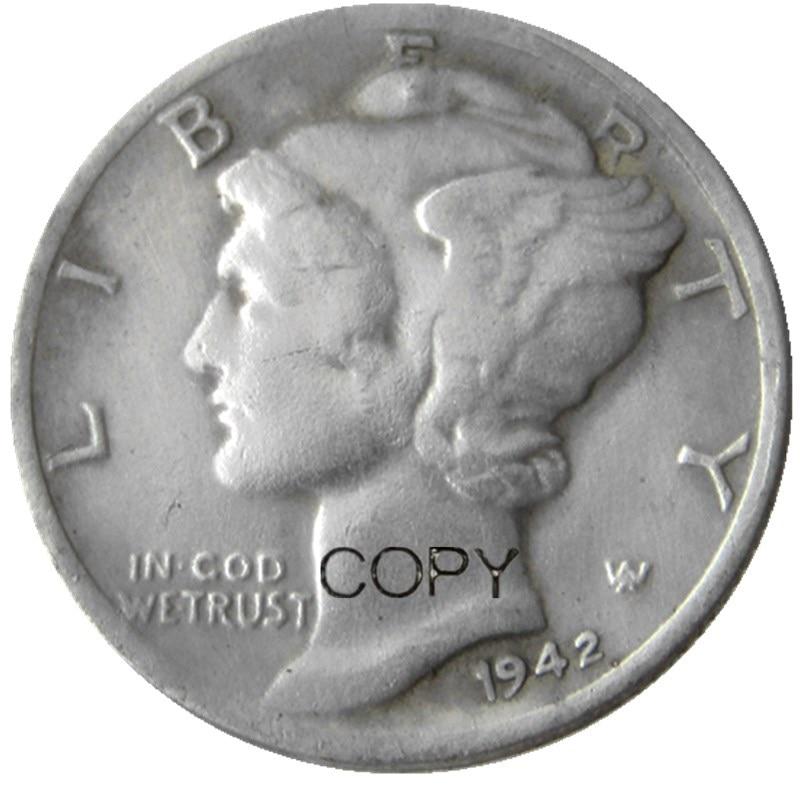 Us mercury dime 1942 p/s/d prata chapeado cópia moedas