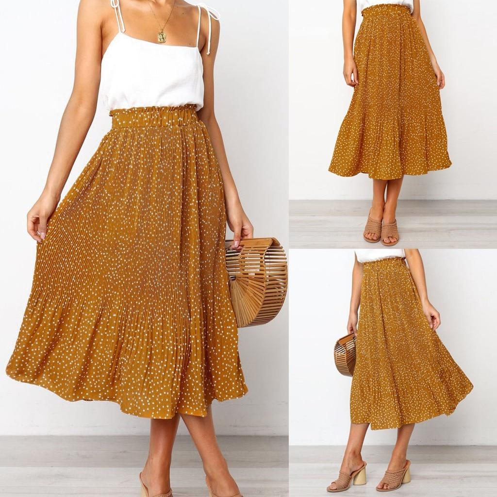 Skirts Womens Fashion Party Cocktail Summer Women Dot Printed Skirt High Waist Long Skirt Faldas Mujer Moda 2020