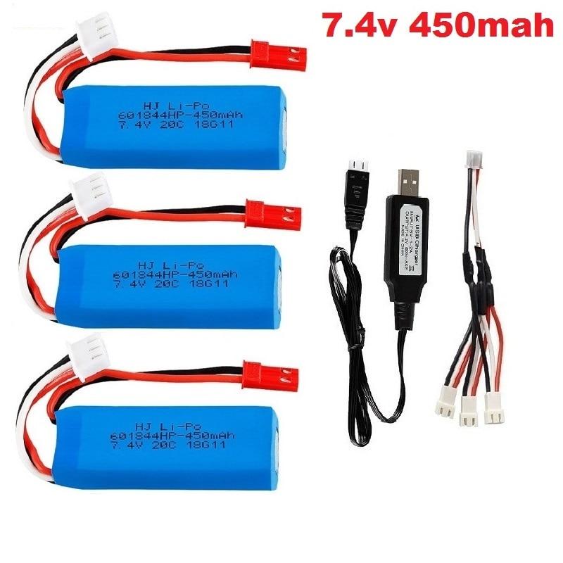 Batería li-po 7,4 V 450mah/500mah/520mAh para Avión RC XK A600 K969 K989 K999 P929 P939 A202 A212 A222 A232 A242 A252 coche RC