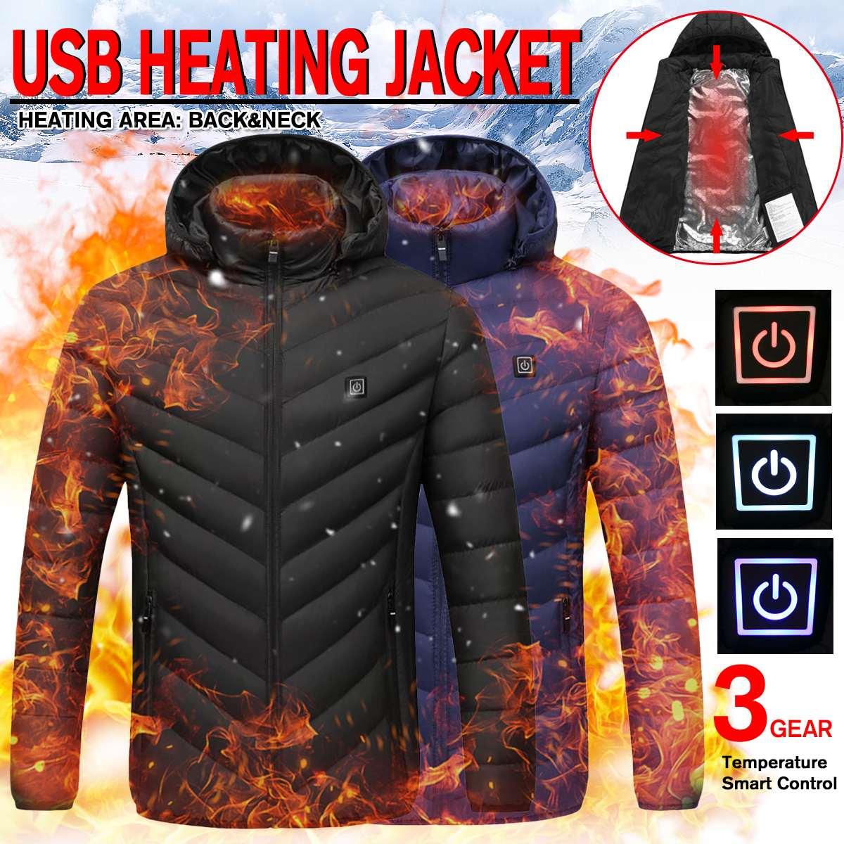 Chaqueta con calefacción eléctrica USB abrigo para hombres y mujeres invierno más cálido a prueba de viento con capucha calefacción trasera + cuello chaleco térmico para senderismo