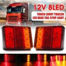2X 12V 8LED Car Truck LED Rear Tail Light Warning Light Taillight Waterproof  for Trailer Caravans UTE Caravans Campers Boat