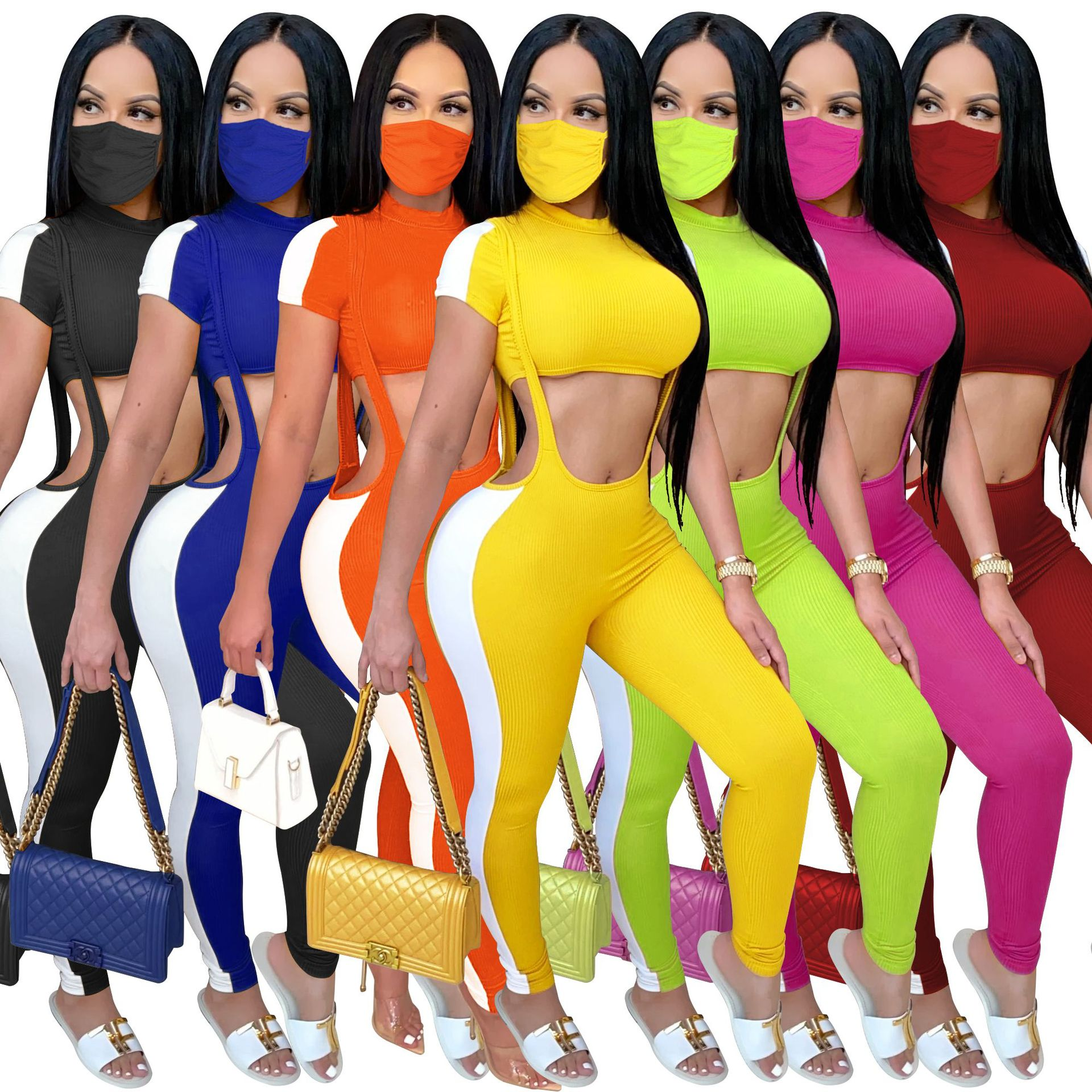 Hot selling European and American women's sling strap tights waistless short top fashion suit + mask included