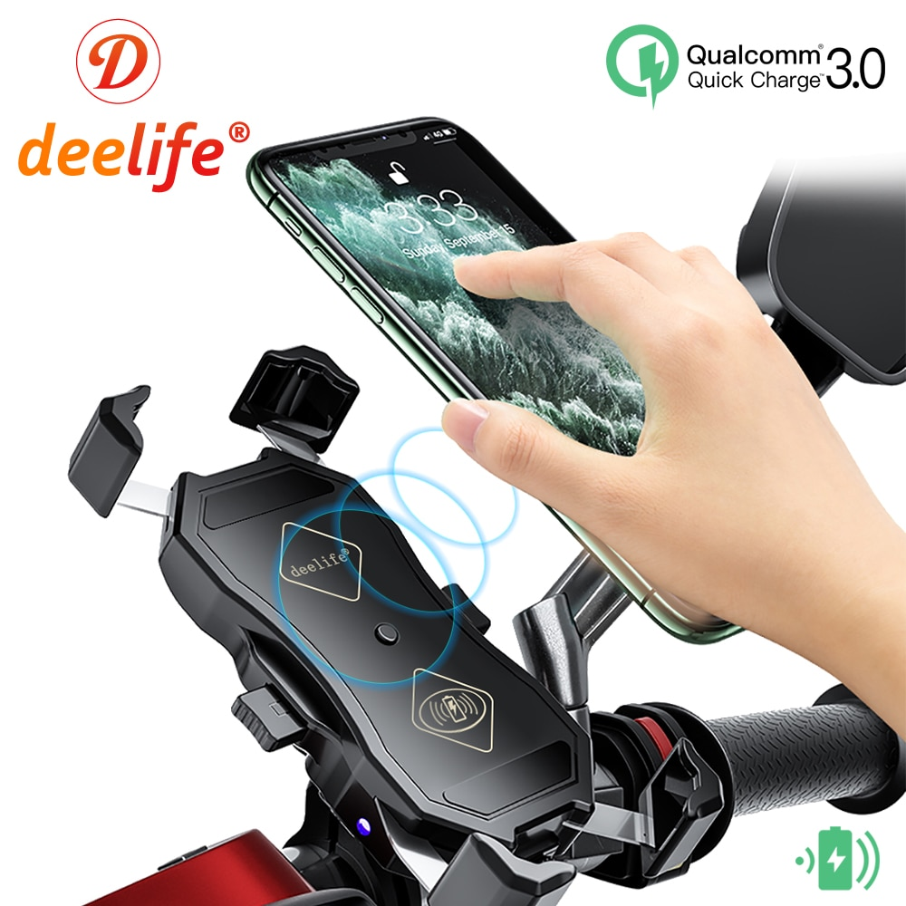 Deelife Phone Holder Motorcycle for Moto Motorbike X-Grip Smartphone Stand USB Charger Wireless Charging Cellphone Mount ym wd05 c creative bamboo mobile phone smart watch charging holder multi function charger stand usb smartphone charging base
