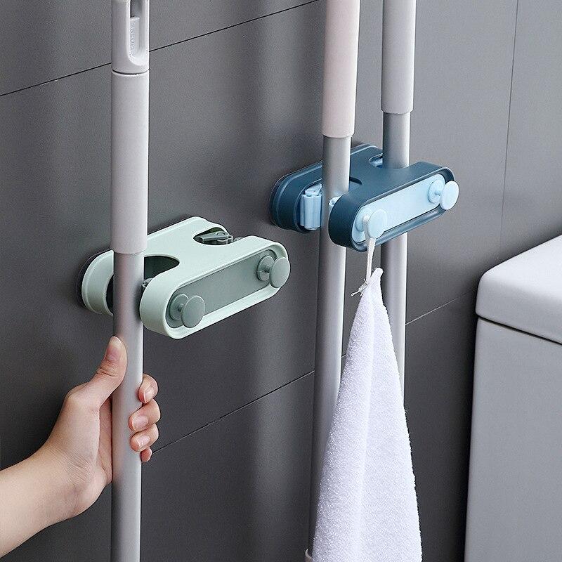 Настенный держатель для швабры, аксессуары для ванной комнаты, инструменты для хранения, Швабра, двойная пряжка, пластиковые крючки, стеллажи, органайзер для кухни
