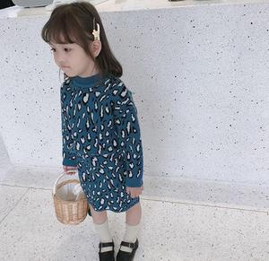 children's dress girl suit skirt autumn dress 2019 new leopard print children  two pieces set