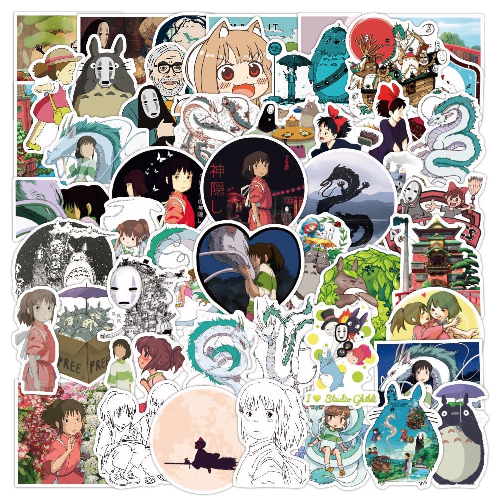 10/50 pçs bonito miyazaki hayao spirited afastado anime adesivos de parede casa mala graffiti adesivo portátil crianças brinquedos dos desenhos animados adesivos