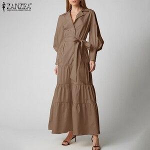 Women Spring Autumn Long Dress Vintage Puff Sleeve Lapel Robe Female Solid Vestidos ZANZEA Elegant Waist Belt Ruffle Dresses 5XL