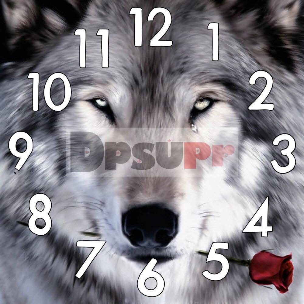 Kit de pintura de diamante dpsup5d con mecanismo de reloj punto de cruz bordado de diamante redondo cuadrado completo Animal Lobo mosaico casa G0
