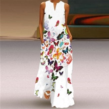 MOVOKAKA New Butterfly Print White Dress 2021 Casual Plus Size Long Dresses Summer Woman Sleeveless