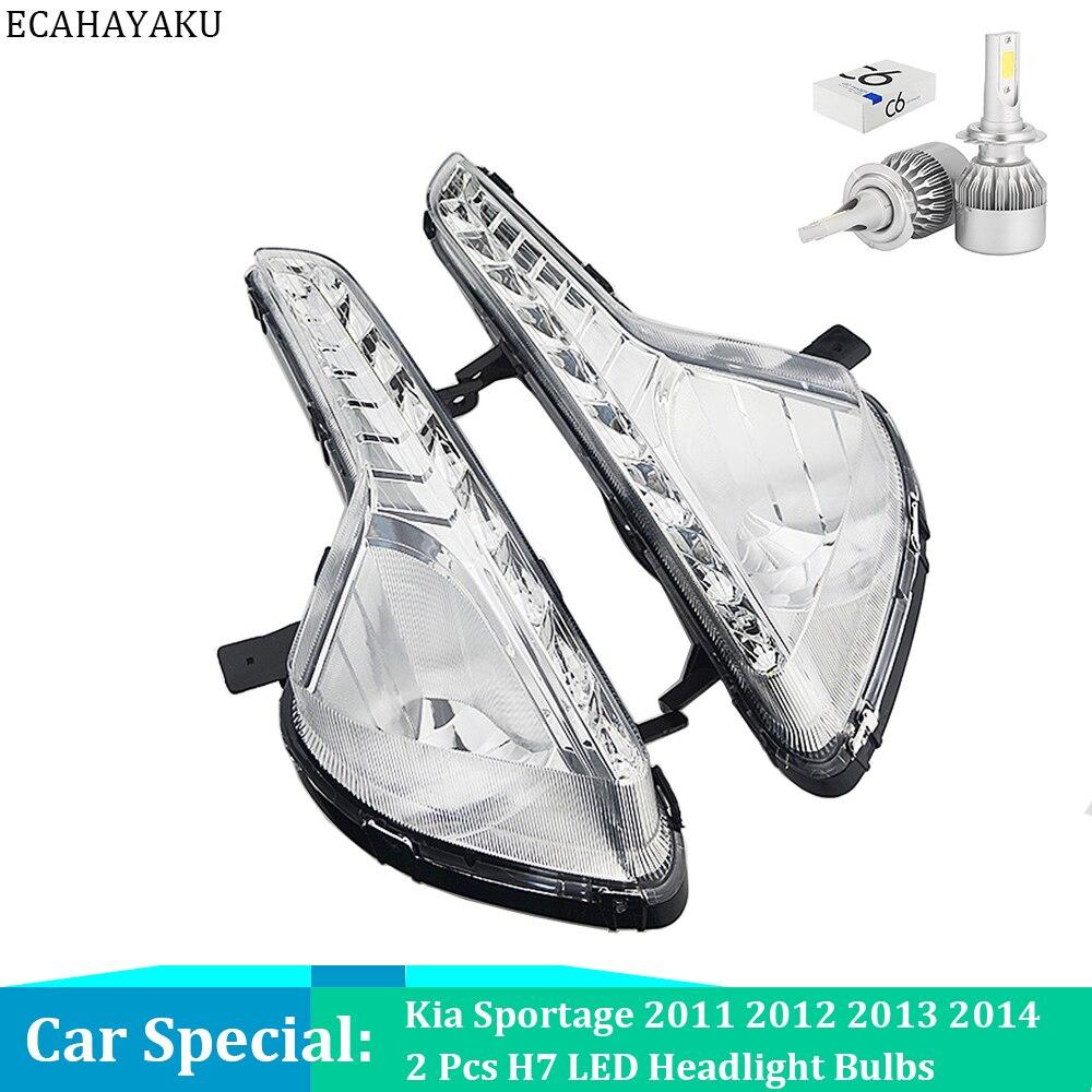 ECAHAYAKU, luz LED de circulación diurna DRL para coche, luz diurna con bombilla de faro para Kia Sportage 2011 2012 2013 2014, cubierta de luz antiniebla