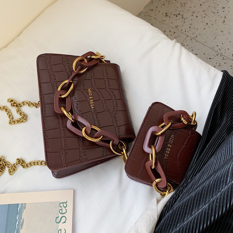 Elegant Female Mini Tote bag 2020 New Quality Leather Women's Designer Handbag Crocodile pattern Chain Shoulder Messenger Bag