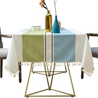 nordic new tassel decoration tablecloth cotton linen cloth art dustproof tablecloth home kitchen western table decoration