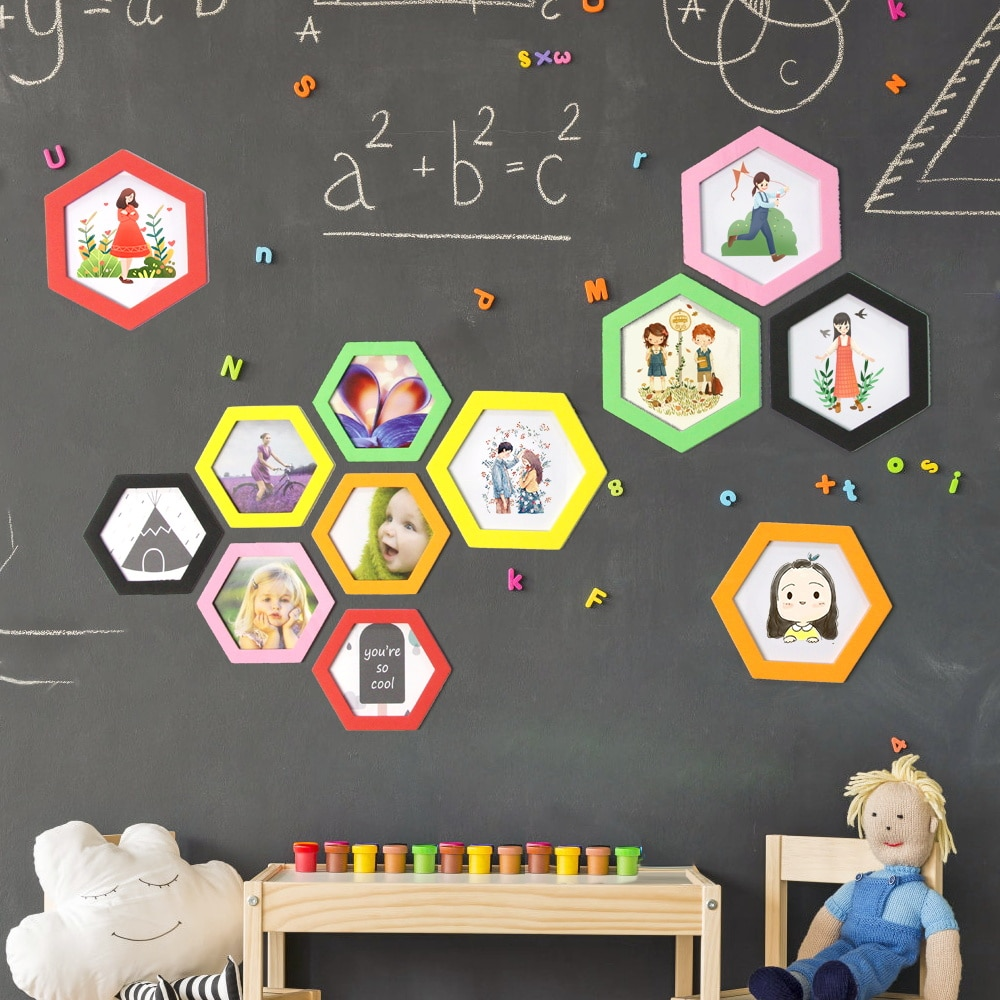 Colorful Magnetic Eva Hexagon Photo Frames Refrigerator Magnetic Picture Holder Living Room Wedding Party Art Decoration Gift