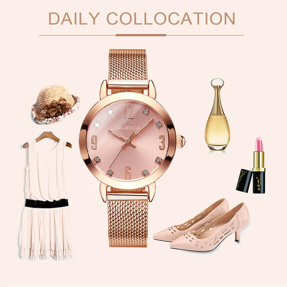 OLMECA Reloj Mujer Women's WristWatch Fashion Quartz Watches Relogio Feminino Mesh Watches 30M Waterproof Clock Drop-Shipping enlarge