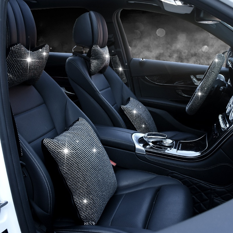 Accesorios de decoración Interior de coche de cristal brillante reposacabezas de diamante completo almohadas de soporte de cintura conjunto de fundas de cinturón de seguridad