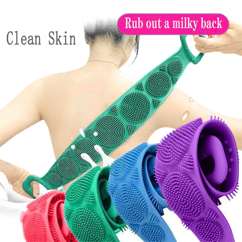 Bathroom Magic Silicone Brushes Shower Strap Scrubber Skin Exfoliating Massage Body Peeling Clean Rubbing Back Bath Towel Belt enlarge