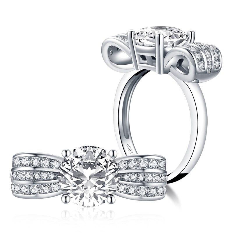 Joyería de plata de ley 925 para mujer, anillos de plata, boda, diamante sintético, anillo de 2,6 Ct, regalo de compromiso de boda