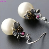 bocai hand embroidered freshwater pearl beads 925 sterling silver earrings small flowers vintage thai silver earrings for women