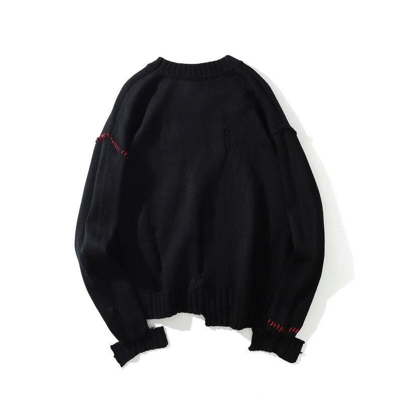 كنزة رجالية بغطاء للرأس ، كنزة من الصوف ، ملابس حضرية كبيرة الحجم ، ملابس هيب هوب سوداء ، ملابس خارجية على الطراز الياباني ، 2020