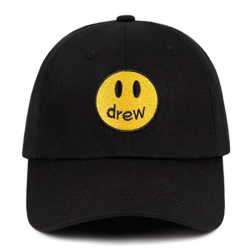 drew house Justin Bieber Dad Hat 100% Cotton Smiley face DREW Baseball Cap Fragment Hat Snapback Unisex Street trend Caps