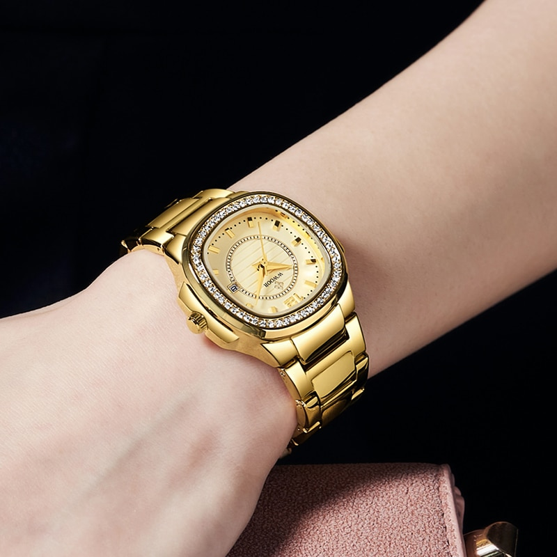 WWOOR Luxury Golden Watch Ladies Wrist Watch Stylish Brand Women Elegant Dress Bracelet Watches Waterproof Relogio Feminino 2021 enlarge
