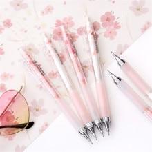 Cute Pink Cherry Blossoms Mechanical Pencils Kawaii Sakuara 0.5mm Automatic Pencils School Stationery Press Pens for Kids Gifts