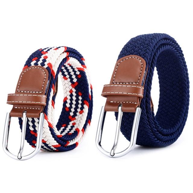 2020 Men Elastic Stretch Waist Belt Black Canvas Braided Small Elasticity Woven Leather Belt Wide Hot Metal Stretch Belt for Men