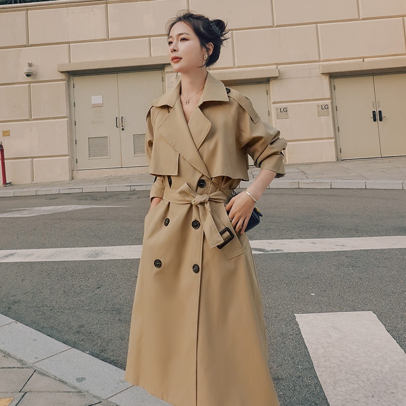 Brand New Spring Autumn Long Women Trench Coat Double Breasted Belted Storm Flaps Khaki Dress Loose
