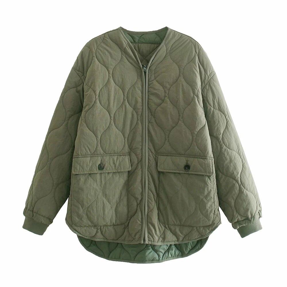 DYLQFS 2021 الخريف خمر ArmyGreen الخامس الرقبة واحدة الصدر ملابس قطنية معطف الإناث الشارع الشهير كم طويل رقيقة شيك