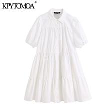 KPYTOMOA femmes 2020 douce mode à volants blanc Mini robe Vintage revers col manches bouffantes robes féminines Chic Vestidos Mujer
