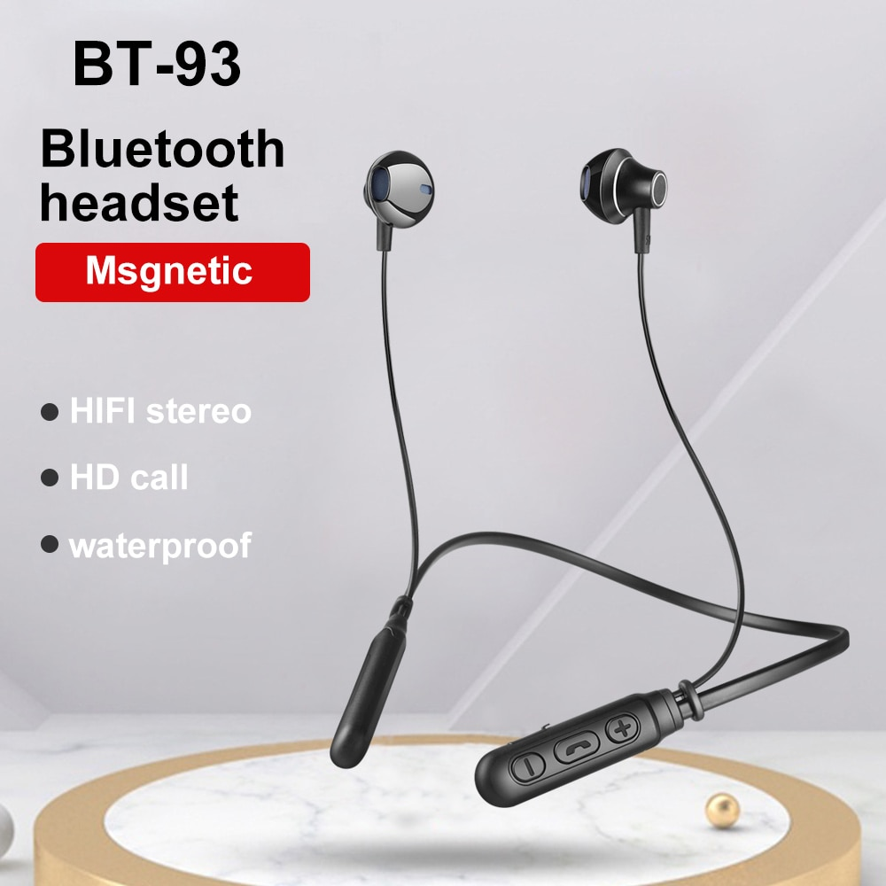 BT-93 Bluetooth 5.0 Neck-mounted wireless sports bluetooth headset black with packaging enlarge
